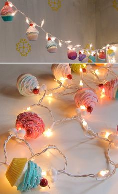 Fake Cupcake Cupcake Lovers String of Lights 12 Legs Original Concept Design 10 Mini Asst. Cupcakes Fab Bakery Decor Kitchens First on Etsy Twinkle Lights, Twinkle Twinkle, String Lights, Cupcake Kitchen Decor, Kitchen Themes, Bakery Kitchen, Cupcake Garland, Cupcake Cupcake, Casa Color Pastel