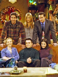 Friends Cast on set during Christmas.