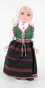 Nordfjord from Norwegian Dolls 12 inches. Both women in Nordfjord itself and those nearby Nordfjord wear this beautiful bunad, which has become very popular.