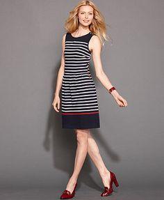 Tommy Hilfiger Dress, Sleeveless Striped A-Line