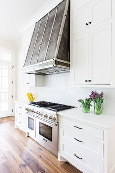 Interiors: Lori Paranjape, RedoHome&Design  Photography Copyright: AlyssaRosenheckPhotography    White Kitchen, Custom Hood, Quartz Countertops, Wide plank floors, inset cabinetry, Benjamin Moore White Dove, shiplap, Thermador     http://blog.redoyourhouse.com/fresh-from-the-kitchen/