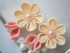 Handmade Kanzashi girls toddler baby hair clips bows- buy in UK,shipping worldwide