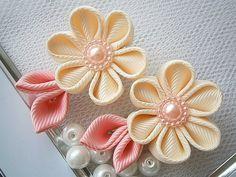 Handmade Kanzashi women girls Daffodil hair clips bows- buy in UK,shipping…