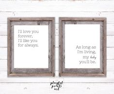 I'll Love You Forever Print Set, 8x10, Instant Download, Printable by playfulprintsart on Etsy Printable Art, Printables, Nursery Décor, Childrens Room Decor, Love You Forever, Can Design, You Are My Sunshine, Things To Know, Order Prints