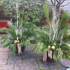 Winter urns Christmas Urns, White Christmas Trees, Christmas Planters, Christmas Greenery, Christmas Baskets, Christmas Arrangements, Burlap Christmas, All Things Christmas, Christmas Time