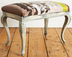 JESSICA Pippa Caley Stool in Hand dyed silk with screen print and embroidered detail. Royal College Of Art, Textile Artists, Vanity Bench, Screen Printing, Behind The Scenes, Dyed Silk, Textiles, Stool, Homes