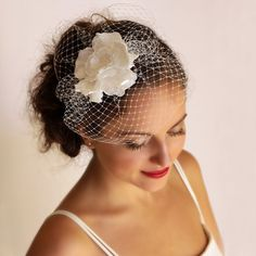 Wedding Veil  Bridal Birdcage Fascinator with Flower  by Florentes,  LOVE THIS!!!!!