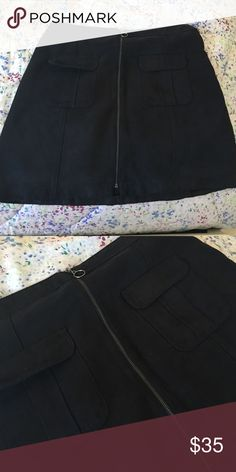 Black a-line skirt New with original tags! Velvet/suede material. From Hollister Skirts Mini