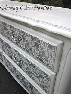 I taped off the edge of the drawers because I wanted to keep them white. I used Rustoleum Aluminum in a matte finish and sprayed the pulls as well. Make sure to use a fresh piece of lace for each part you spray.