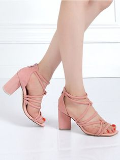 Pink Twist Strappy Chunky Heeled Sandals   Choies