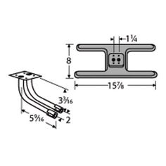 Heavy Duty BBQ Parts 20502-72702 Cast Iron Burner with L-Shaped Twin Venturi for Arkla Brand Gas Grills