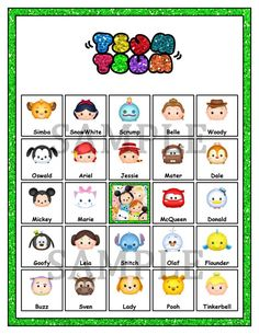 Disney Tsum Tsum Birthday Party Bingo Game and by ChamPartyPerfect