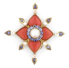 Tony Duquette (American, 1914-1999), 1990s. A coral simulant, sapphire, cultured pearl and vermeil pendant clip