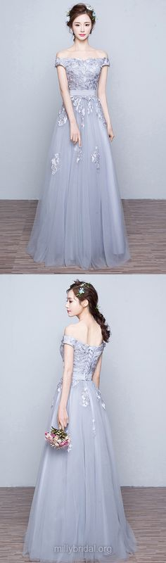 New A-line Long Prom Dresses, Gray Formal Dresses,Lace Off-the-shoulder Evening Dresses, Tulle Appliques Party Gowns
