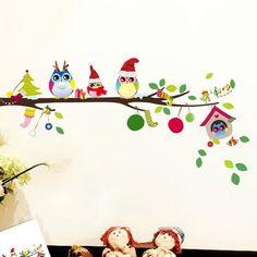 Christmas Owl Tree Wall Sticker DIY Home Mural Art Decal Kid Room Wallpaper #Unbranded #PlaneWallSticker