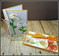 """Stampin' Up! Bunch of Blossoms, Blossom Builder Punch, Irresistibly Floral SDSP, Peekaboo Peach Ruched Ribbon, 1-3/4"""" circle punch, Whisper White Thick Baker's Twine, Pearls"""