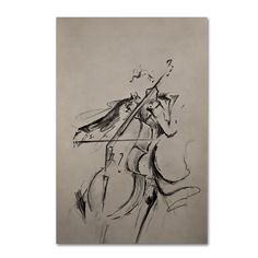 This ready to hang, gallery-wrapped art piece features a black and white gestural sketch of a cellist. Hong Kong born artist Marc Allante exhibited a passion for the visual arts from an early age. Hav