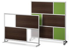 """Urban Wall Room divider - Free Standing and 4 Wheel - 73""""x54"""" and 73""""x78"""" - Dark wood laminate with fabric and frosted acrylic"""