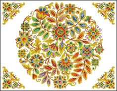 Original hand-painted embroidery pattern chart made in between 1787 – 1900, Landwehr.    I called it Antique Folk Art Floral Design, because it