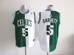 8a695dcd941 Adidas NBA Boston Celtics 5 Kevin Garnett Swingman Split Green White Jersey