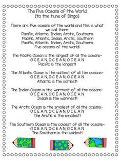 7 Continents and 5 Oceans Songs {Freebie} Oceans Song, 5 Oceans, Oceans Of The World, Songs For Toddlers, Rhymes For Kids, Kids Songs, Preschool Social Studies, Social Studies Worksheets, Geography For Kids