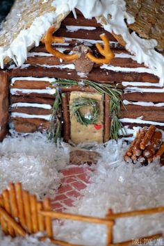 Gingerbread Log Cabin- look at the pretzel deer rack!