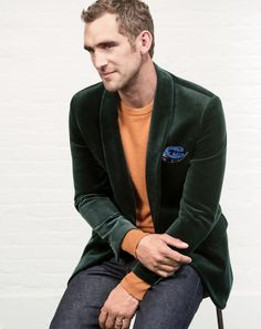 J.Crew men's Ludlow shawl-collar blazer in velvet, Italian cashmere sweater and 484 stretch selvedge jean in raw indigo.