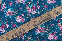 Fabric Teal Calico Floral Cotton Old School by AntiquesandVaria