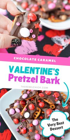 Chocolate Caramel Pretzel Bark Recipe for Valentine's Day #valentinesday #galentines
