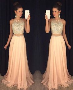 Jewel Neck Illusion Two Piece Prom Dress, Crystal Beaded Floor Length Sweep Train Prom Dress, Stunning Pink Crop Top Chiffon Prom Dress, sold by Dressesofgirl on Storenvy Bling Prom Dresses, Blush Prom Dress, Prom Dresses 2016, Unique Prom Dresses, Beautiful Dresses, Gowns 2017, Pageant Dresses, Dress Prom, Long Dresses