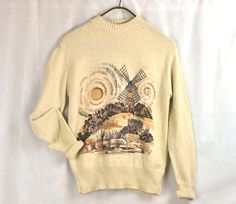 #1970's #Retro Mens Sweater Jumper Medium Large Windmill landscape $32 by ArmorOfModernMen #vintageclothing #retroclothes #retrofashion