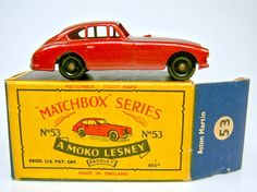 "Matchbox RW 53A Aston Martin rotmetallic top in ""B"" Box"