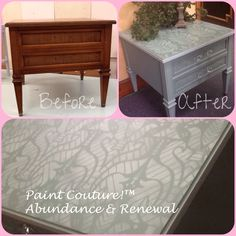 Furniture paint transformation using Paint Couture!(TM).  Stencil from Wallovers.