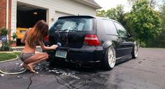 My wife insists this is the best way to wash the car!! #mk4 #gti #stance