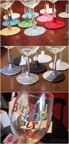 DIY glitter up wine glasses