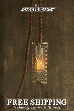 Pendant Light Rope Light Cage Lamp Hanging Light by LukeLampCo, $148.00
