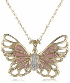 """10k Yellow Gold Pink Enamel with Diamond-Accent Butterfly Pendant Necklace (0.02 cttw, I-J Color, I2-I3 Clarity), 18"""" On Sale"""