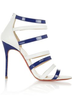 Christian Louboutin ~ Navy and White Sandals