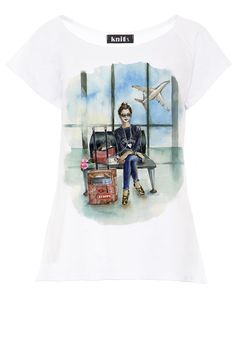 Travel Print T-Shirt In White Short Sleeve fobya European Fashion, Timeless Fashion, Online Shopping Clothes, White Shorts, Blouses, Clothes For Women, Sleeve, Womens Fashion, Mens Tops