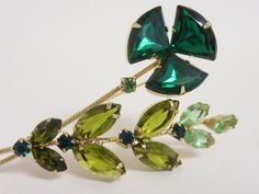 Vintage Green Glass Rhinestone Flower Brooch   by labaublesandbags, $40.00
