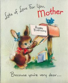 Vintage Greeting Card Bunny Rabbit Feather Tail Animal O893 Birthday Cards