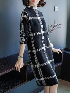 Knitted Long Sleeve Turtle Neck Plaid Casual Dress