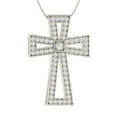 Necklaces - Piety - SI Diamond Necklace in 14k White Gold (0.66 ct.tw.)