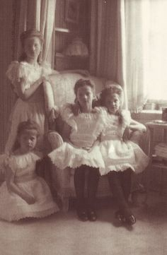laurenjenae:    Olga ,Anastasia (under) ,Tatiana and Maria Nikolaevna in mauve room …