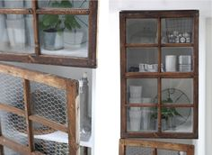 old windows as cabinet doors...<3