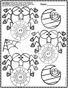 Need Extra Multiplication Practice? Here Are 14 Double-Sided Worksheets With Multiplication Wheels For Facts All The Way Up To An Answer Key Is Provided. Designs And Fonts Copyright Dianne J. Halloween Math, Halloween Themes, Holiday Activities, Math Activities, Multiplication Wheel, Math Facts, Dj Inkers, Elementary Math, Math Resources