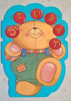 Hallmark Birthday Card Age 5 Today , Cute Bear Forever Friends Range Multi