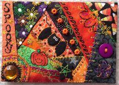 ACEO crazy quilt textile art Halloween por Lucismiles en Etsy