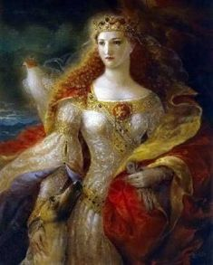 Egraine (also spelled Igraine) was the mother of King Arthur by Uther Pendragon.  Uther lusted for Egraine from the moment he saw her at a reception held by her husband the Duke of Cornwall – Gorlois of Tintagel – the father of Morgana, to cement an alliance between the two of them.