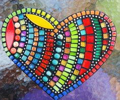 Mosaic heart created by Tina @ Wise Crackin' Mosaics